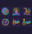 set neon icons with musical vector image