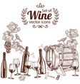 set of sketch wine icons vector image