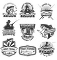 set of trout fishing emblems isolated on white vector image vector image