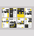 Set of yellow cover and layout brochure flyer