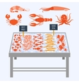 Supermarket shelves with fresh seafood vector image