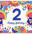 two 2 year birthday party greeting card number vector image vector image