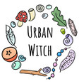 urban witch lettering with colorful doodles in vector image vector image