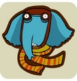 vector cartoon of winter elephant vector image