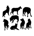 Wolf wild animal silhouettes vector image vector image