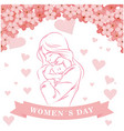 womens day ribbon woman hold son pink flower heart vector image vector image