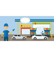 Cars in Gas Station and Service Attendant vector image