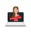 ontact us customer support online web girl on vector image