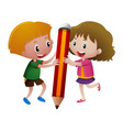 boy and girl holding big pencil vector image