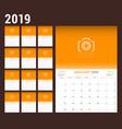 2019 year calendar planner stationery design vector image vector image