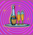 a bottle champagne with glasses on a tray vector image