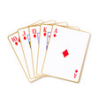ace diamonds flush playing cards vector image vector image
