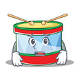 afraid toy drum character cartoon vector image vector image