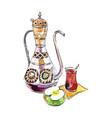 antique turkish teapot cup tea apple vector image vector image