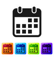 black calendar icon isolated on white background vector image