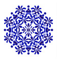 blue floral mandala pattern vector image