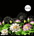 border with waterlily hand draw vector image vector image