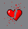 broken pixel art heart for game vector image