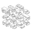 cars set freehand sketch traffic jam on road vector image vector image