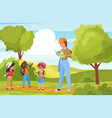 children tourists walk and hike outdoor trekking vector image vector image