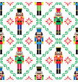 christmas nutcrackers seamless pattern vector image