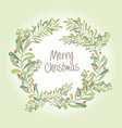 christmas wreath composition of mistletoe fir vector image