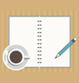 coffee cup with book and pencil vector image