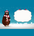 cute cartoon bear in santa hat on snowy vector image