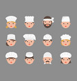 cute chef avatar in variety such as pastry chef vector image vector image
