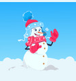 cute girl snowman wearing winter hat and scarf vector image