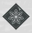 emblem shape square with flower inside decoration vector image vector image