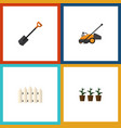 flat icon garden set of lawn mower wooden barrier vector image vector image