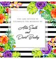 floral black stripe invitation card vector image
