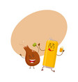 funny beer can and fried chicken leg characters vector image vector image
