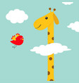 giraffe with spot flying bird zoo animal long vector image