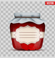 glass jar with strawberries jam vector image vector image