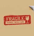 grunge fragile box sign on craft paper for vector image