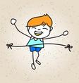 hand drawing cartoon happy kid running marathon vector image vector image