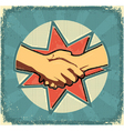 Handshake poster retro vector image
