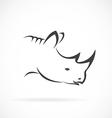 Image of rhino head on white background vector image