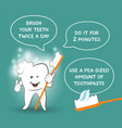 instruction for kids how to brush your teeth vector image