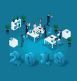 isometric business concept office work accounting vector image