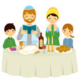 jewish family on shabbat eve vector image vector image