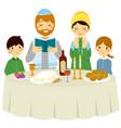 jewish family on shabbat eve vector image