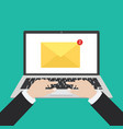 laptop with envelope and read email on screen vector image vector image