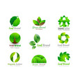 leaf abstract logo template green 3d volume icons