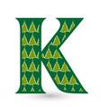 letter k christmas festive font icon vector image vector image