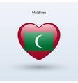 Love Maldives symbol Heart flag icon vector image vector image