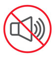 no sound line icon prohibition and forbidden vector image vector image