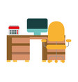office with desk and chair workplace vector image